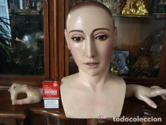 Arte: virgen tamaño natural PARA PELUCA - madera ojos cristal Y PESTAÑAS JUEGO DE manos - SEMANA SANTA - Foto 8 - 131461990