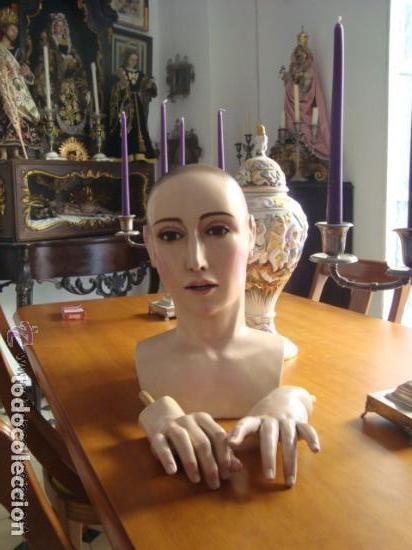 Arte: virgen tamaño natural PARA PELUCA - madera ojos cristal Y PESTAÑAS JUEGO DE manos - SEMANA SANTA - Foto 22 - 131461990