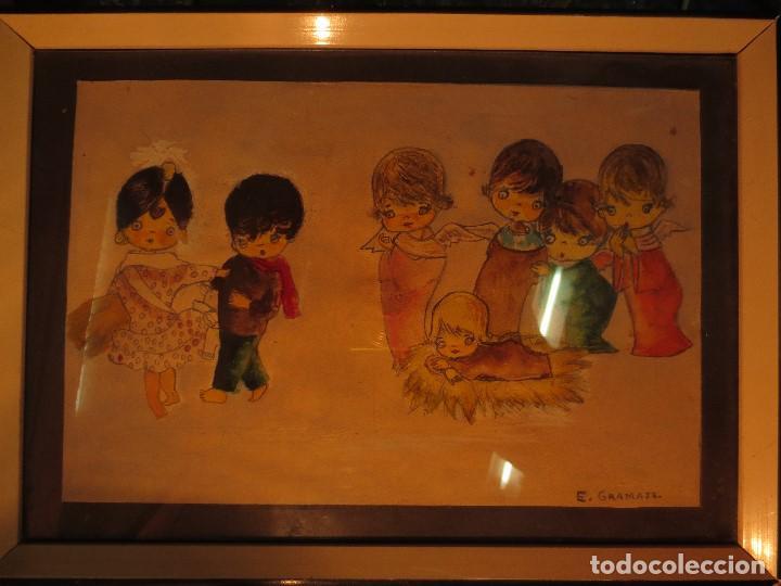 NACIMIENTO BELEN ANTIGUA ACUARELA ORIGINAL FIRMADA E GRAMAJE (Arte - Arte Religioso - Pintura Religiosa - Acuarela)