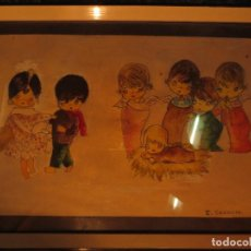 Arte: NACIMIENTO BELEN ANTIGUA ACUARELA ORIGINAL FIRMADA E GRAMAJE. Lote 131620918