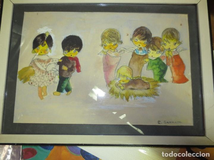 Arte: NACIMIENTO BELEN ANTIGUA ACUARELA ORIGINAL FIRMADA E GRAMAJE - Foto 5 - 131620918