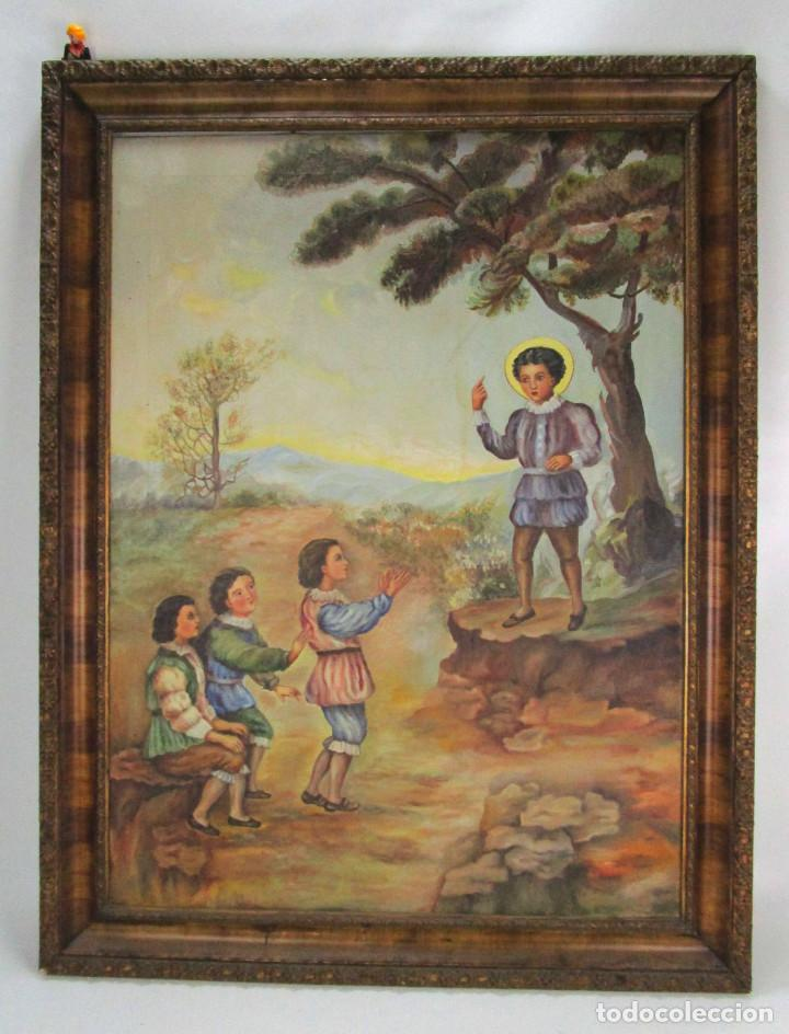 GRAN CUADRO ESCENA OLEO PINTURA RELIGIOSA CENTENARIO SAN VICENTE FERRER , 1950, FIRMADO (Arte - Arte Religioso - Pintura Religiosa - Oleo)