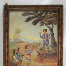 Arte: GRAN CUADRO ESCENA OLEO PINTURA RELIGIOSA CENTENARIO SAN VICENTE FERRER , 1950, FIRMADO. Lote 131649782