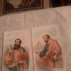 Arte: 2 ANTIGUAS CROMOLITOGRAFIAS FINALES DE 1800,SAN PEDRO Y SAN PABLO. Lote 131756087