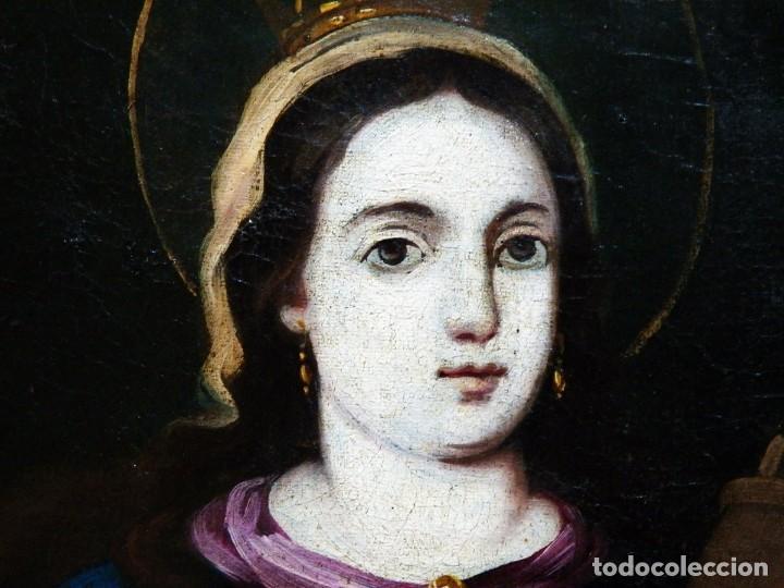 Arte: Pintura Santa Bárbara, Pintura XVIII, Óleo sobre Tela - Foto 7 - 131832946