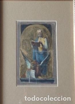 Arte: Escena religiosa . Siglo XIX . Oleo sobre papel antiguo . escena para vidriera - Foto 2 - 63635463