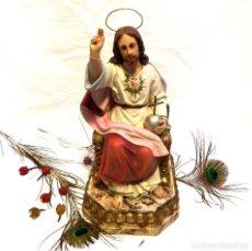 Arte: ESCULTURA JESUCRISTO, ESCULTURA SAGRADO CORAZÓN DE JESÚS, ESCULTURA JESÚS, 43 CM. Lote 131999562