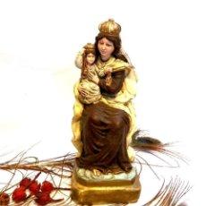 Arte - Escultura Virgen con Niño, Antigua Escultura Virgen Carmen, Escayola Maciza, 28 cm - 132012482
