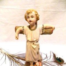 Arte: ESCULTURA ESCAYOLA JESUCRISTO NIÑO, ESTATUA NIÑO JESÚS EN CRUZ, ESCULTURA NIÑO JESÚS, 34 CM, OLOT. Lote 132013990