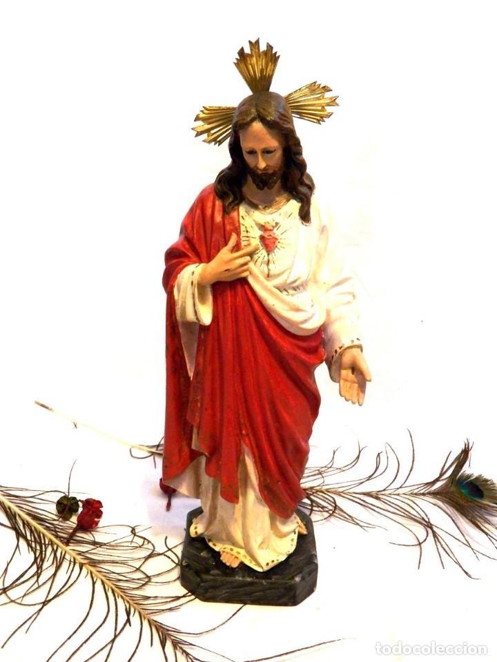 ESCULTURA CRISTO, 42 CM, ANTIGUO CRISTO CORAZÓN JESÚS, OLOT, OJOS CRISTAL (Arte - Arte Religioso - Escultura)