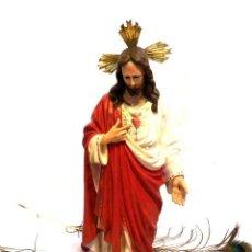 Arte - Escultura Cristo, 42 cm, Antiguo Cristo Corazón Jesús, Olot, Ojos Cristal - 132082450