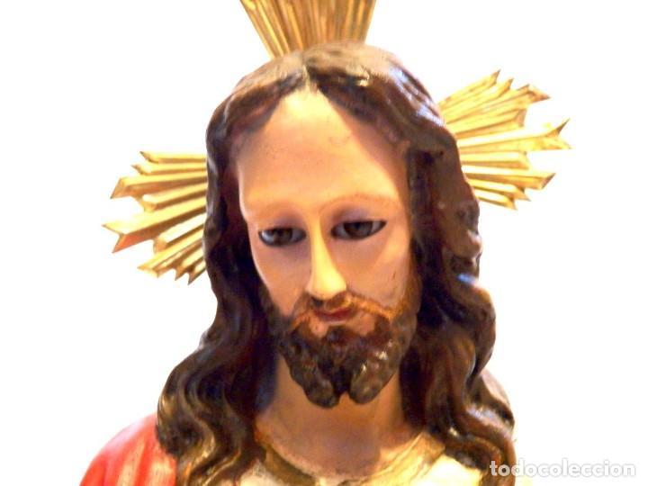 Arte: Escultura Cristo, 42 cm, Antiguo Cristo Corazón Jesús, Olot, Ojos Cristal - Foto 3 - 132082450