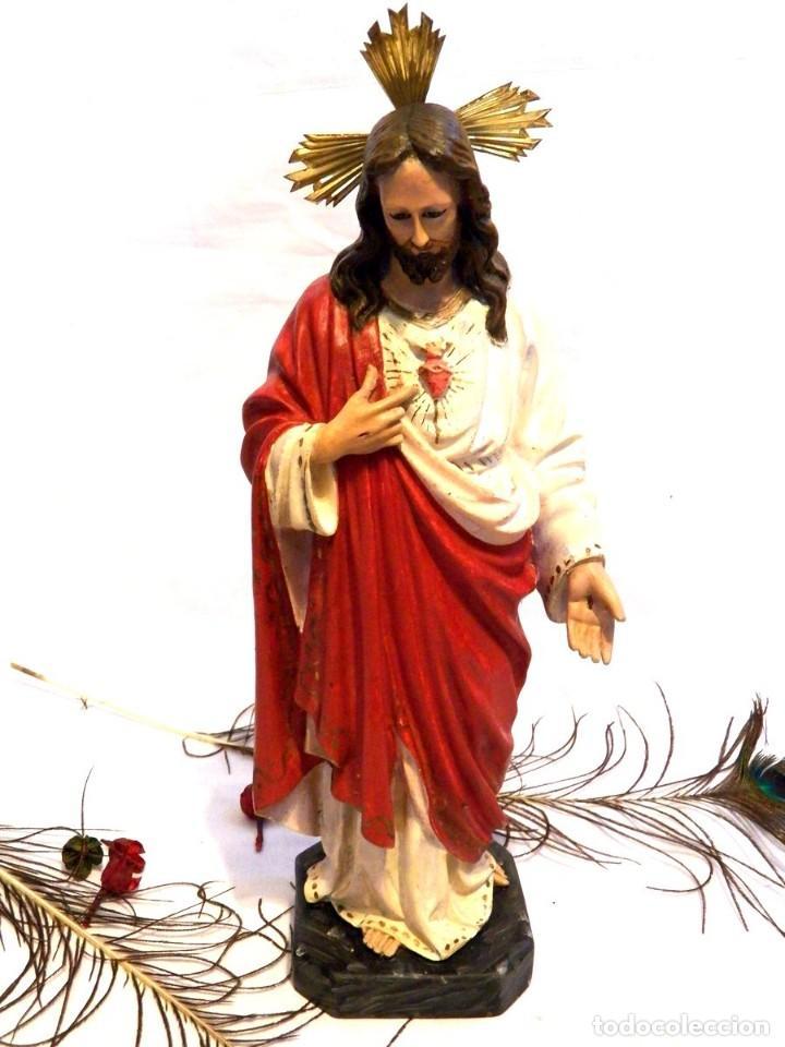 Arte: Escultura Cristo, 42 cm, Antiguo Cristo Corazón Jesús, Olot, Ojos Cristal - Foto 4 - 132082450