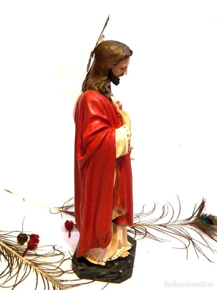 Arte: Escultura Cristo, 42 cm, Antiguo Cristo Corazón Jesús, Olot, Ojos Cristal - Foto 5 - 132082450