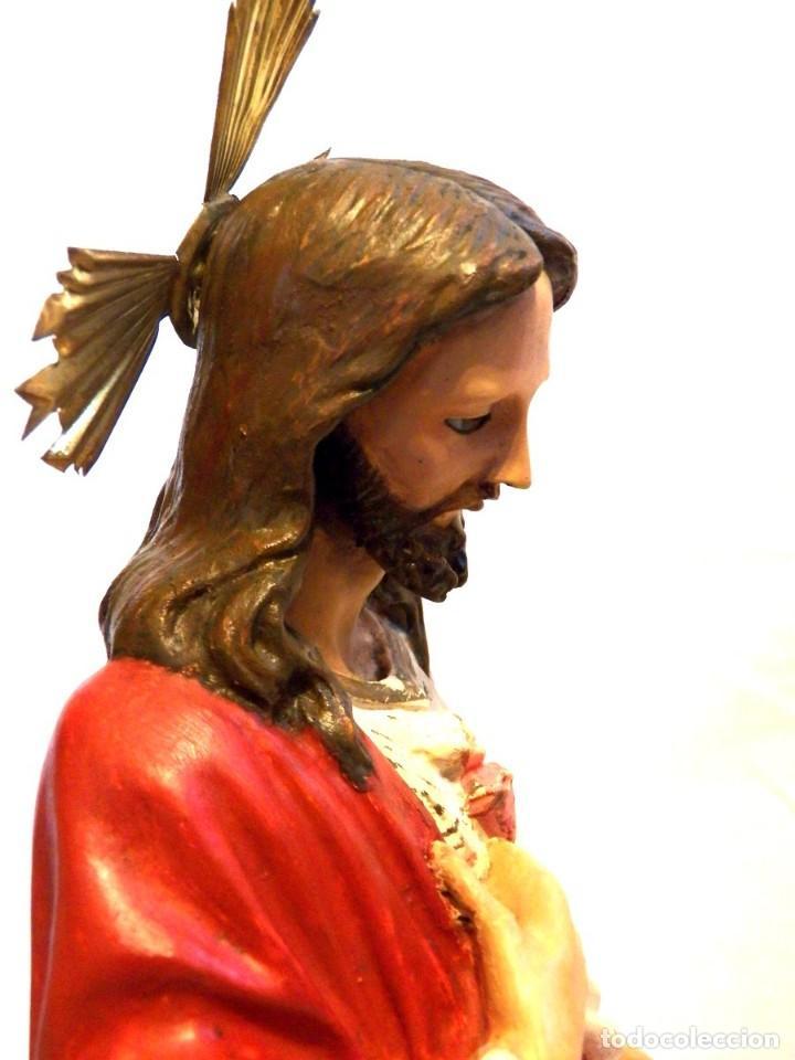 Arte: Escultura Cristo, 42 cm, Antiguo Cristo Corazón Jesús, Olot, Ojos Cristal - Foto 6 - 132082450