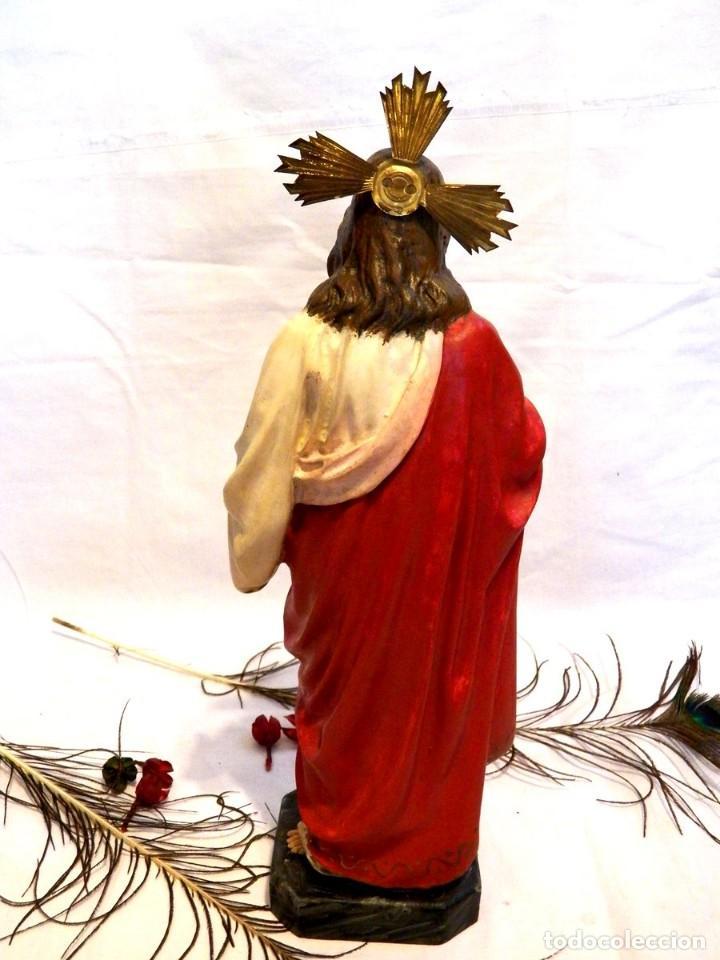 Arte: Escultura Cristo, 42 cm, Antiguo Cristo Corazón Jesús, Olot, Ojos Cristal - Foto 7 - 132082450