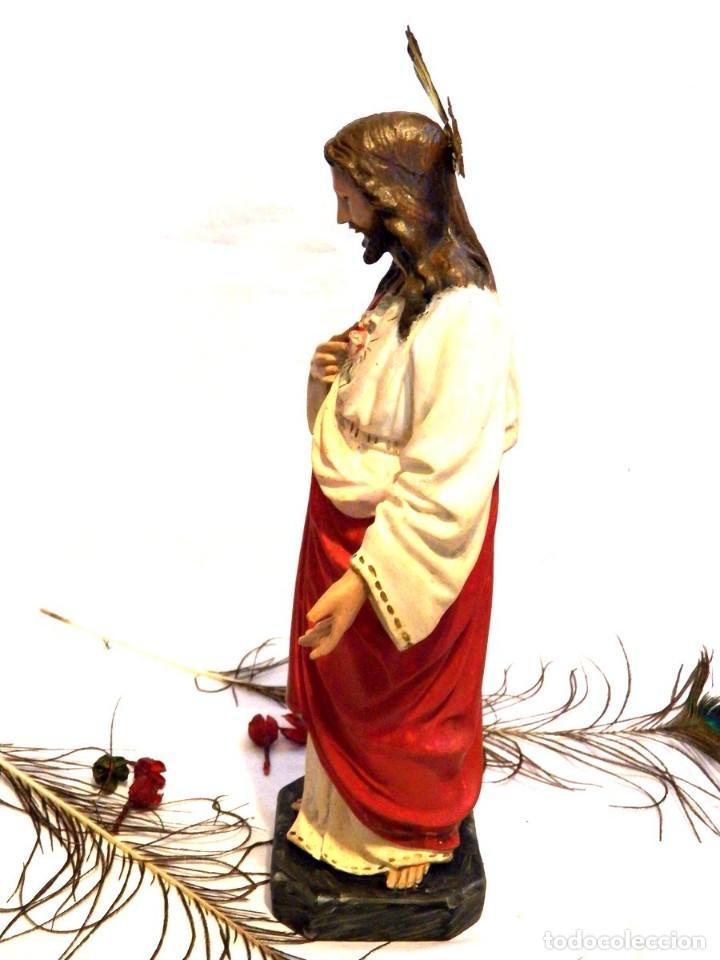 Arte: Escultura Cristo, 42 cm, Antiguo Cristo Corazón Jesús, Olot, Ojos Cristal - Foto 8 - 132082450