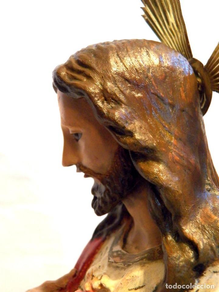 Arte: Escultura Cristo, 42 cm, Antiguo Cristo Corazón Jesús, Olot, Ojos Cristal - Foto 9 - 132082450