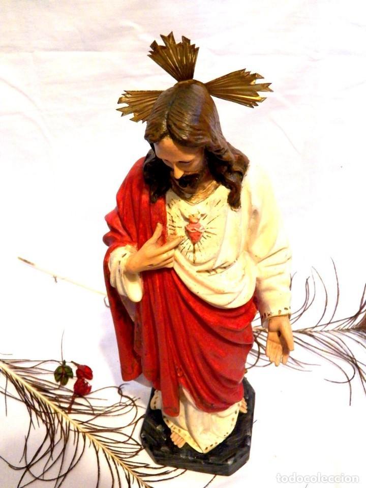 Arte: Escultura Cristo, 42 cm, Antiguo Cristo Corazón Jesús, Olot, Ojos Cristal - Foto 11 - 132082450