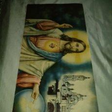 Arte: GRAN LÁMINA ANTIGUA DEL SAGRADO CORAZÓN DE JESÚS Y EL PILAR DE ZARAGOZA.86'5X38'7CM. Lote 132105033