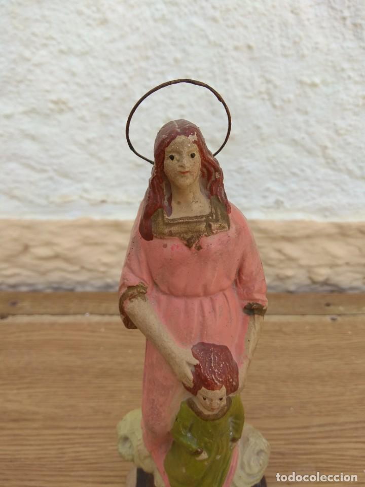 Arte: Escultura de Santa Ana con la Virgen Niña XIX - Terracota Policromada - Foto 4 - 132181046