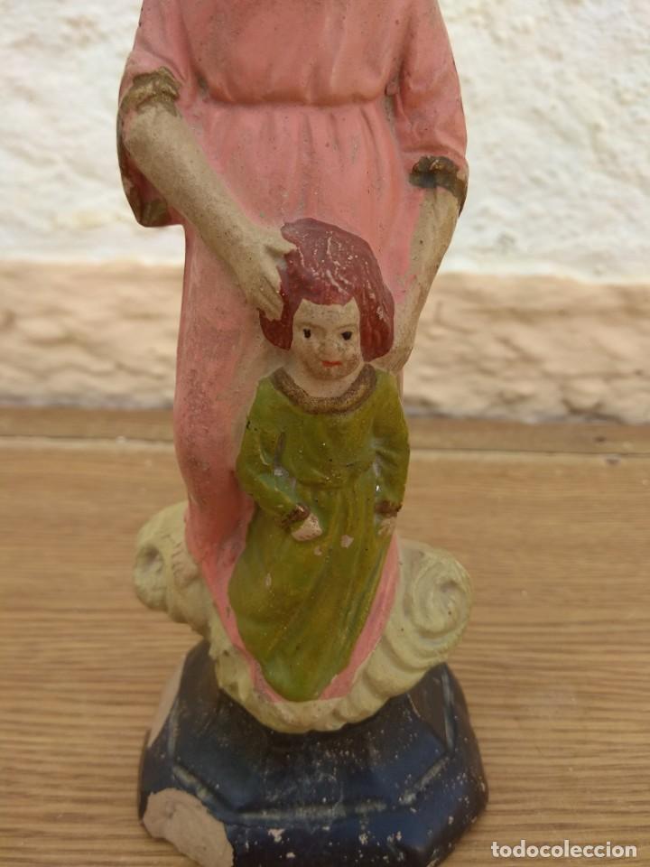 Arte: Escultura de Santa Ana con la Virgen Niña XIX - Terracota Policromada - Foto 8 - 132181046