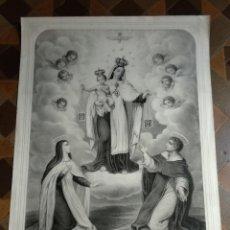 Arte: ANTIGUO GRABADO RELIGIOSO NUESTRA SEÑORA DEL CARMEN . Lote 132239758