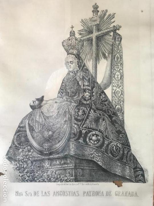 Arte: Enorme Litografia Nuestra señora de las angustias patrona de Granada - Francisco Casado - Siglo XIX - Foto 2 - 132312918