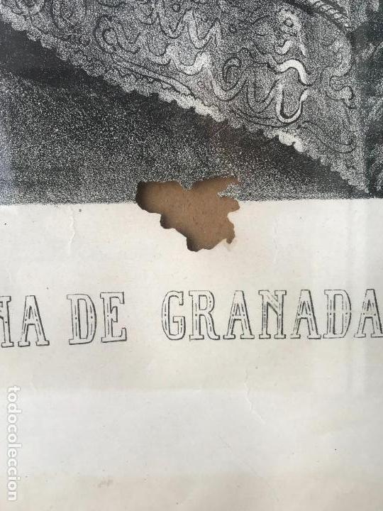 Arte: Enorme Litografia Nuestra señora de las angustias patrona de Granada - Francisco Casado - Siglo XIX - Foto 4 - 132312918