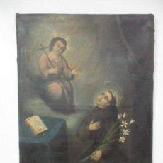 Arte: ANTIGUO ÓLEO SOBRE TELA - SAN ANTONIO DE PADUA - ANCHO 65 CM X ALTURA 83 CM - S. XVIII. Lote 132351602