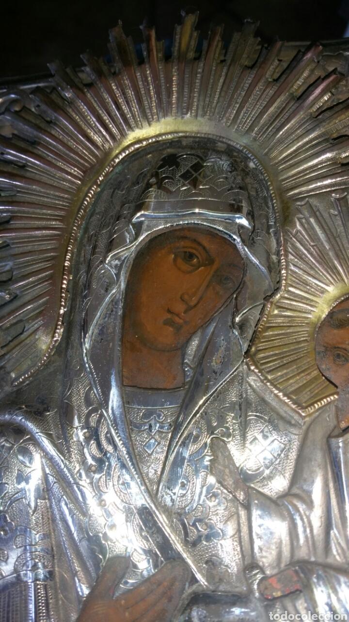 Arte: Icono ruso siglo xix o anterior en plata o metal plateado repujado y grabado y óleo sobre tabla - Foto 2 - 132367181