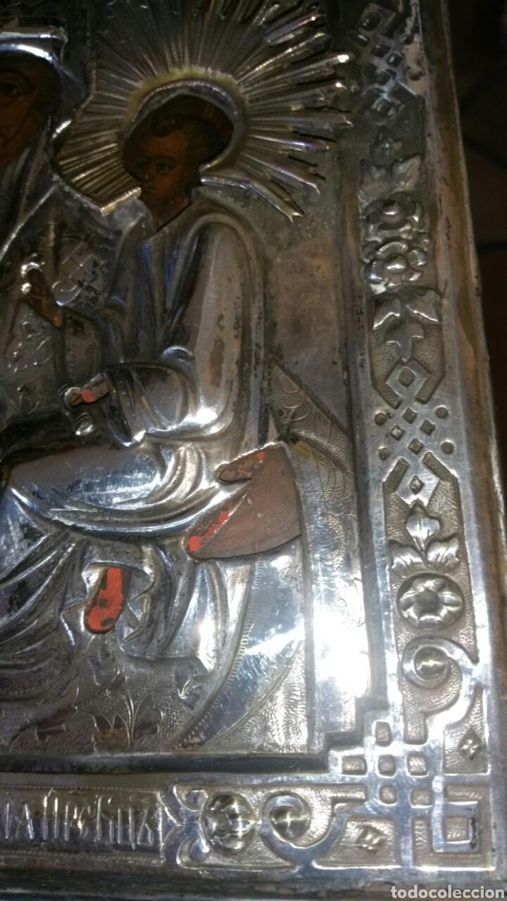 Arte: Icono ruso siglo xix o anterior en plata o metal plateado repujado y grabado y óleo sobre tabla - Foto 4 - 132367181
