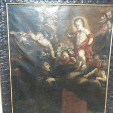 Arte: ..OLEO SOBRE LIENZO BARROCO S.XVII MARCO ORIGINAL Y GRANDES DIMENSIONES SAN ANTONIO DE PADUA. Lote 132396978