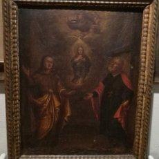 Arte: LA INMACULADA NIÑA CON SUS PADRES. CIRCULO DE VALDES LEAL(1622-90). Lote 132399470