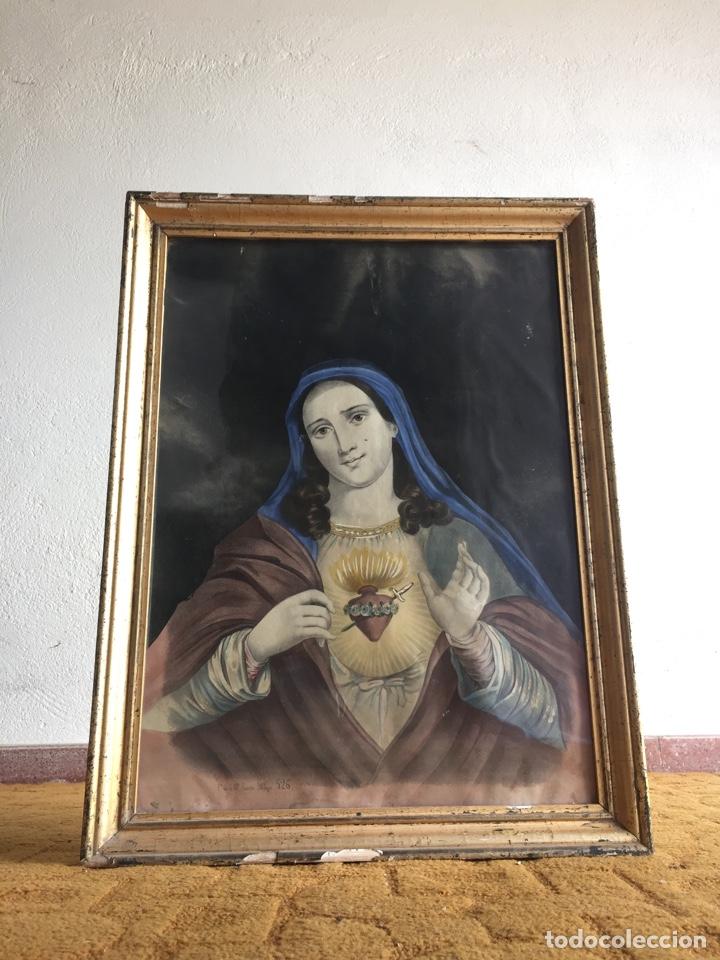 GRAN OBRA DE LA VIRGEN CON SAGRADO CORAZÓN - FIRMA JOSE MARÍA FUERTES - MÁLAGA - NUMERACIÓN 526 (Arte - Arte Religioso - Pintura Religiosa - Otros)