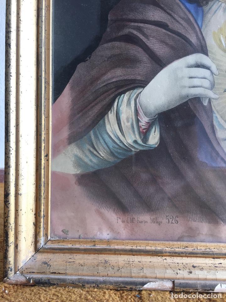 Arte: Gran obra de la Virgen con Sagrado Corazón - Firma Jose María Fuertes - Málaga - Numeración 526 - Foto 2 - 132473993
