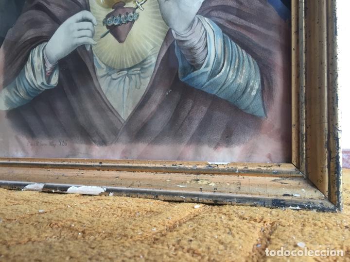 Arte: Gran obra de la Virgen con Sagrado Corazón - Firma Jose María Fuertes - Málaga - Numeración 526 - Foto 3 - 132473993