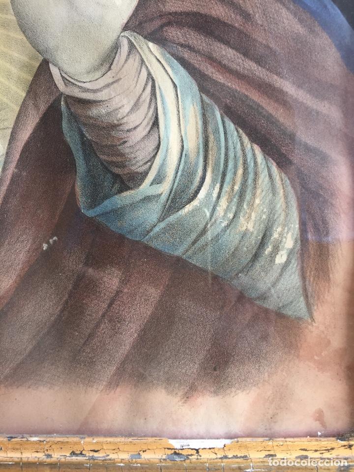 Arte: Gran obra de la Virgen con Sagrado Corazón - Firma Jose María Fuertes - Málaga - Numeración 526 - Foto 4 - 132473993