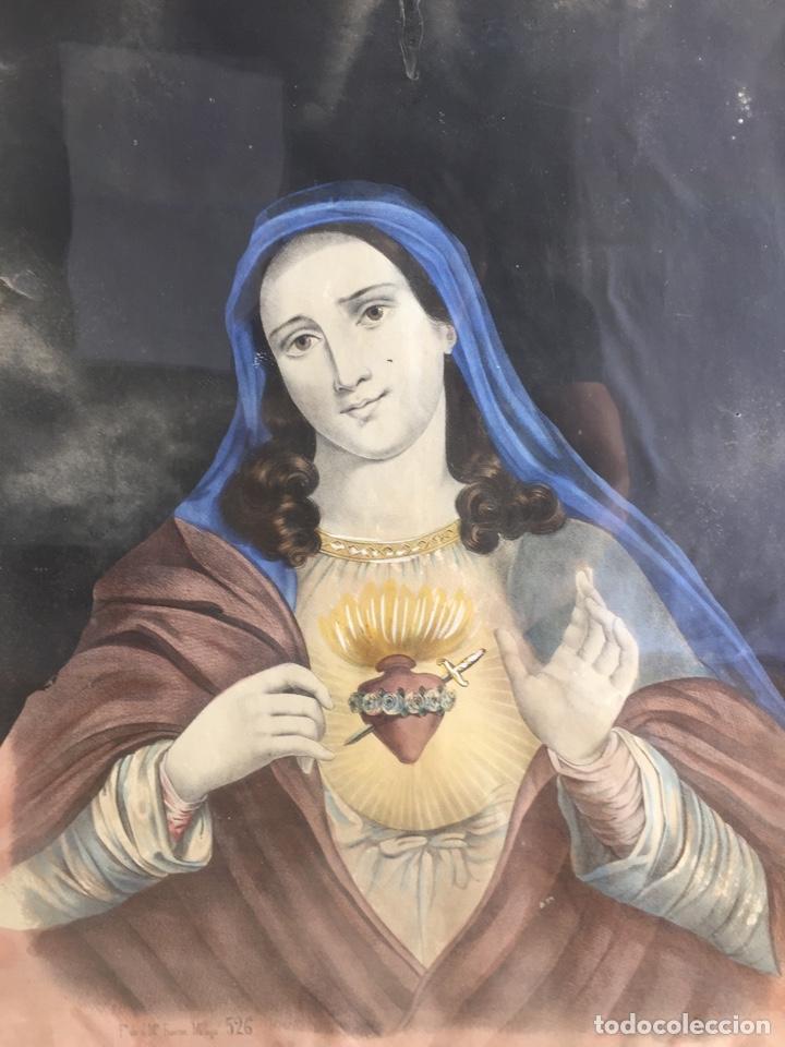 Arte: Gran obra de la Virgen con Sagrado Corazón - Firma Jose María Fuertes - Málaga - Numeración 526 - Foto 5 - 132473993