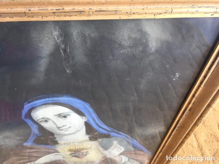 Arte: Gran obra de la Virgen con Sagrado Corazón - Firma Jose María Fuertes - Málaga - Numeración 526 - Foto 7 - 132473993