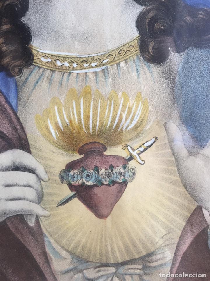 Arte: Gran obra de la Virgen con Sagrado Corazón - Firma Jose María Fuertes - Málaga - Numeración 526 - Foto 9 - 132473993