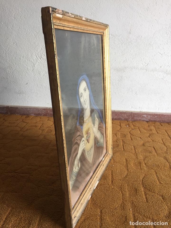 Arte: Gran obra de la Virgen con Sagrado Corazón - Firma Jose María Fuertes - Málaga - Numeración 526 - Foto 10 - 132473993
