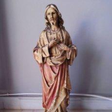 Arte: TALLA SAGRADO CORAZÓN DE JESÚS PASTA DE MADERA OJOS DE CRISTAL 44CM. Lote 132497222