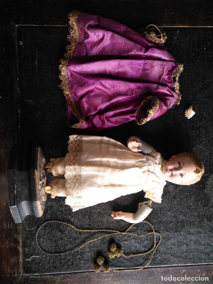 Arte: niño jesus vestir barro terracota arte cristiano olot ojos cristal traje peana virgen semana santa - Foto 8 - 132498222
