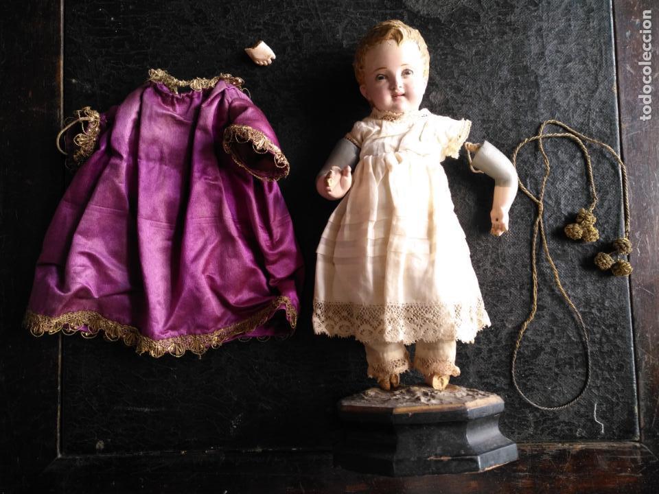 Arte: niño jesus vestir barro terracota arte cristiano olot ojos cristal traje peana virgen semana santa - Foto 13 - 132498222