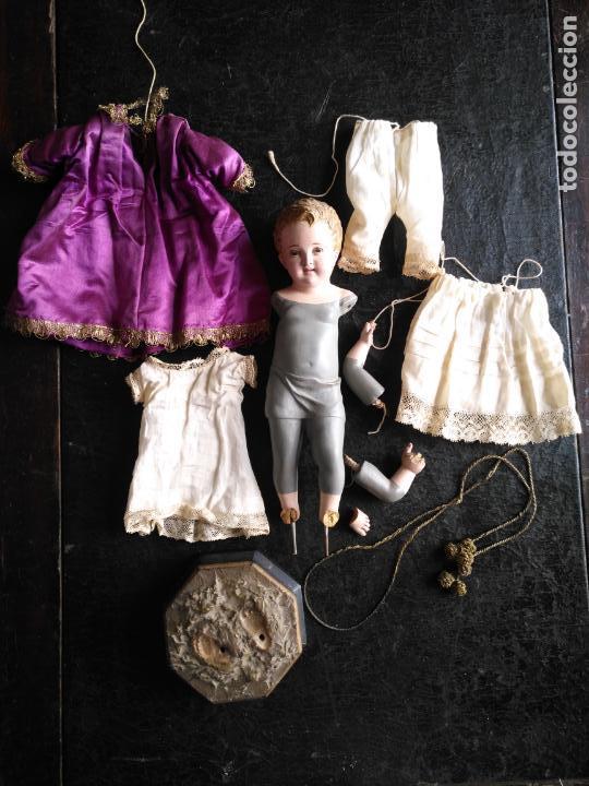 Arte: niño jesus vestir barro terracota arte cristiano olot ojos cristal traje peana virgen semana santa - Foto 34 - 132498222
