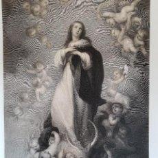 Arte: MAGNÍFICO GRAN GRABADO DE LA INMACULADA DE SOULT DE MURILLO, S. XIX, 65,5 X 45 CM.. Lote 132530374