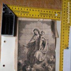 Arte: ANTIGUO GRABADO RELIGIOSO ORIGINAL VIRGEN DEL CARMEN GRABADOR V.B - GALAN , LINEAS EN BOLIGRAFO. Lote 132548166