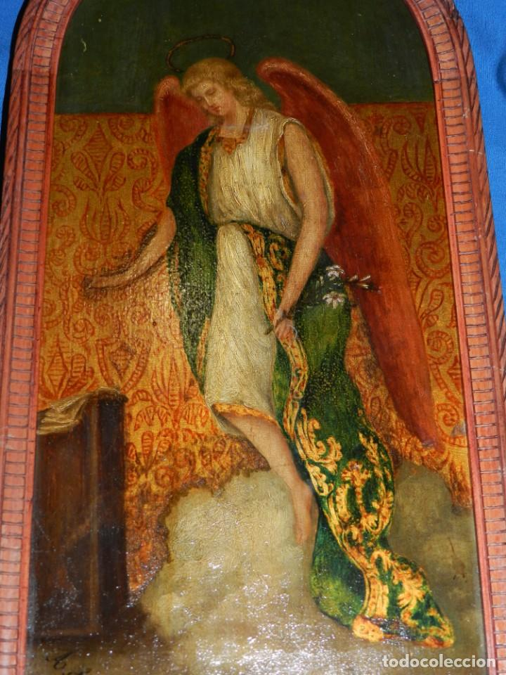 (M) PINTURA ANGEL SAN GABRIEL - OLEO SOBRE TABLA FINALES S.XIX SIN FIRMAR , ENMARCADO (Arte - Arte Religioso - Pintura Religiosa - Otros)