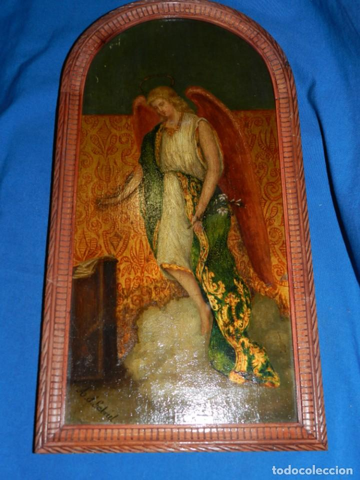 Arte: (M) PINTURA ANGEL SAN GABRIEL - OLEO SOBRE TABLA FINALES S.XIX SIN FIRMAR , ENMARCADO - Foto 2 - 132574158